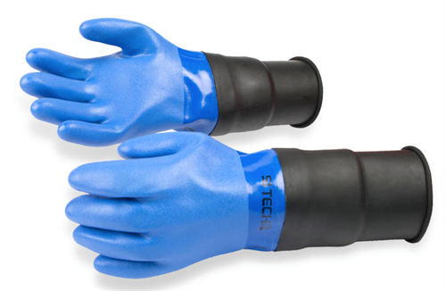 Blue PVC Glove - Extended cuff